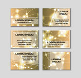 Business card collection. Abstract shining glow decorative elements with transparent layout Royalty Free Stock Photo