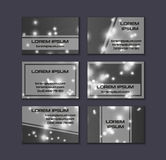 Business card collection. Abstract shining glow decorative elements with transparent layout Stock Images
