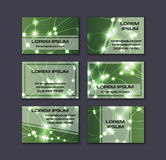 Business card collection. Abstract shining glow decorative elements with transparent layout Royalty Free Stock Photography
