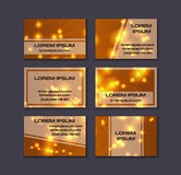 Business card collection. Abstract shining glow decorative elements with transparent layout Royalty Free Stock Image