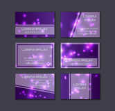 Business card collection. Abstract shining glow decorative elements with transparent layout Stock Image