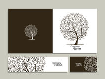 Business card collection, abstract tree design Royalty Free Stock Photography