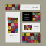 Business card collection, patchwork carpet design Stock Image