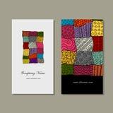 Business card collection, patchwork carpet design Stock Photos