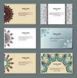 Business card collection. Vintage decorative. Elements. Hand drawn background Royalty Free Stock Image
