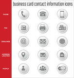 Business card contact information icons collection. Illustration Stock Photo