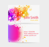 Business_card16 [Converted]. Business card template - front and back side. Abstract colored music design Stock Photos