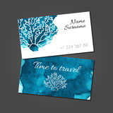 Business card with coral on blue watercolor stain Stock Photos