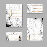 Business card and cover template set. Identity kit with marble t Stock Image