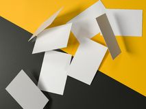 Business card, 3d illustrated, mockup, yellow background. Business cards on yellow background Royalty Free Stock Photos