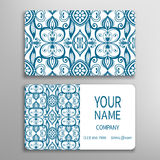 Business card, decorative ornamental invitation. Collection. Hand drawn Islam, Arabic, Indian, lace pattern Stock Images