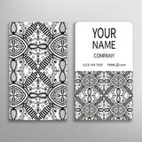 Business card, decorative ornamental invitation. Collection. Hand drawn Islam, Arabic, Indian, lace pattern Royalty Free Stock Photo
