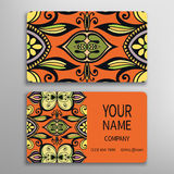 Business card, decorative ornamental invitation. Collection. Hand drawn Islam, Arabic, Indian, lace pattern Stock Photos