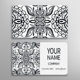 Business card, decorative ornamental invitation. Collection. Hand drawn Islam, Arabic, Indian, lace pattern Royalty Free Stock Image