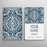 Business card, decorative ornamental invitation. Collection. Hand drawn Islam, Arabic, Indian, lace pattern Royalty Free Stock Images
