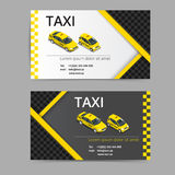 Business card design in black, white and yellow colors. Vector template for taxi company and taxi driver. Royalty Free Stock Image