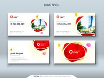 Business card design. Business card template for personal or corporate use with red and yellow spot elements. stock illustration