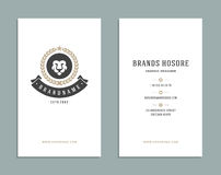 Business Card Design and Retro Logo Template. Vector Design Element Vintage Style for Logotype Stock Images
