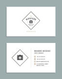 Business Card Design and Retro Logo Template. Vector Design Element Vintage Style for Logotype Royalty Free Stock Photos