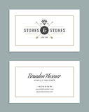 Business Card Design and Retro Logo Template. Vector Design Element Vintage Style for Logotype Royalty Free Stock Photography
