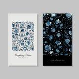 Business card design, russian gzhel ornament Stock Photos