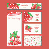 Business card design. Supermarket template. Fruit. Fruits vector background. Banner design with a strawberry.  Business card design. Supermarket template. Fruit Stock Photography