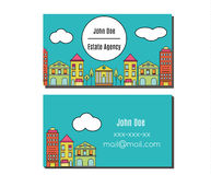 Business card design template Flyer with city street buildings view. Elegant card for estate agency, architecture office Royalty Free Stock Photography