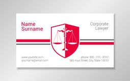 Lawyer business card design template. vector illustration