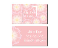 Business card design template. Vector flyer for florist, wedding events management, flower shops and other Royalty Free Stock Images