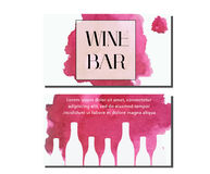 Business card design template. Vector flyer for wine bar, wine shop with watercolor splash and bottles. Business card design template. Vector flyer. Artistic Stock Photos