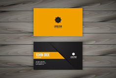 Business Card Design Template with Wooden Background Stock Images