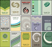 Business card designs. Large collection of various different business card designs stock illustration