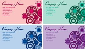 Business Card Designs. Vector illustration of business card with circle design in four colors Royalty Free Stock Photo