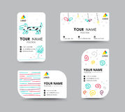 Business card with doodler design card template. corporate card.  Royalty Free Stock Image