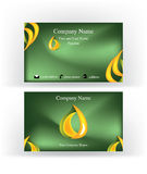 Business card with drop logo symbol. Business card with abstract drop shape logo symbol, on dark green background stock illustration