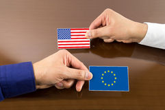 Business card with europe and usa Flag Stock Photo