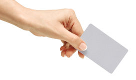 Business card in female hand stock images