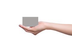 Business card on a female hand Stock Photos