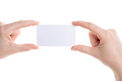 Business card in female hands Stock Photography
