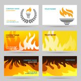Business card fire. Fire fiery flames torch and laurel wreath paper business card set isolated vector illustration Stock Photography