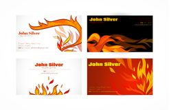 Business card fire. Fire flames hot warm paper business card set isolated vector illustration Royalty Free Stock Photography
