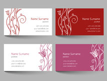 Business card with floral doodle design Stock Photography