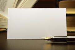 Business card and fountain pen Stock Photos