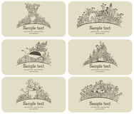 Business card gardener set Royalty Free Stock Images