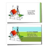 Business card for geodesy and cadastre. Business card concept for surveyor and cadastre Stock Image
