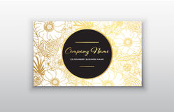 Business card - gold floral frame. Stylish golden premium luxury business card template design. On white background stock illustration