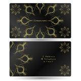 Business card gold ornament on a black background. Concept royalty free illustration
