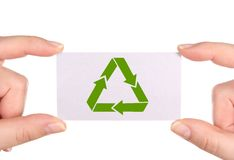 Business card with green  recycle icon Royalty Free Stock Images