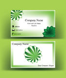 Business card with green sphere logo symbol. Business card with green sphere symbol, with abstract arrows starting from its center, on green background Stock Image