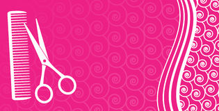 Business card for hair salon. On pink pattern background